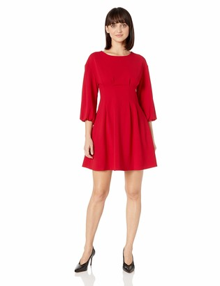 London Times Women's Petite Long Sleeve Pleat Tucked Waist FIT and Flare Dress
