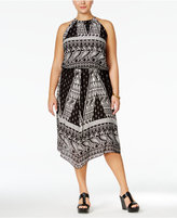 ING Trendy Plus Size Printed Halter A-Line Dress