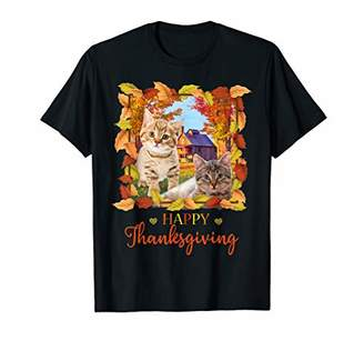 Happy Thanksgiving Cute Cat Fall Leaves October Gift T-Shirt