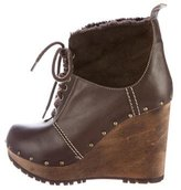 See by Chloe Sherpa-Trimmed Wedge Ankle Boots