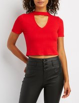 Charlotte Russe Choker Neck Ribbed Crop Top