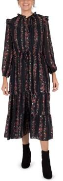 Julia Jordan Ruffle-Trim Pleated Midi Dress