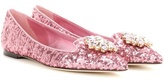Dolce & Gabbana Crystal-embellished sequinned ballerinas