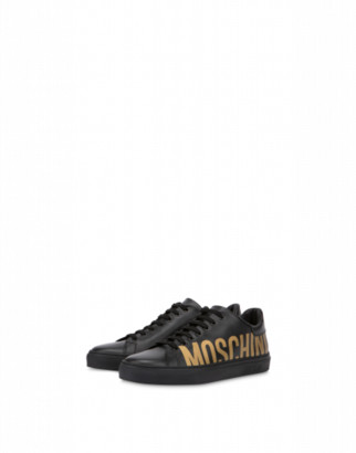 Moschino Nappa Leather Sneakers With Logo Man Black Size 39 It - (6 Us)