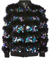 Topshop Sequin Marabou Feather Jacket