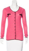 Anna Sui Bow-Accented Rib Knit Cardigan