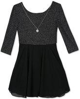 Amy Byer Silver Lurex Back Bow Dress & Necklace Set, Big Girls (7-16)