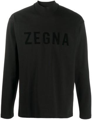 Ermenegildo Zegna logo-print longsleeved T-shirt