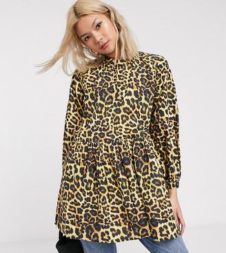 Verona high neck smock top in leopard print