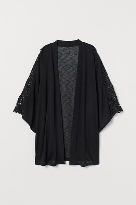 H&M Lace-embroidered Cardigan - Black