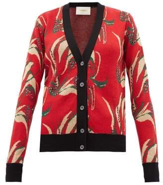La DoubleJ Windy Flower Jacquard Wool-blend Cardigan - Womens - Red Multi