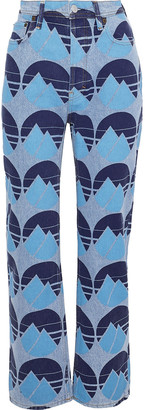 Acne Studios Log Printed High-rise Straight-leg Jeans