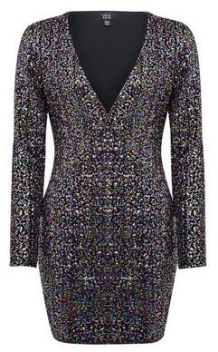 Dorothy Perkins Womens Lola Skye Multi Colour Plunge Sequin Bodycon Dress, Multi Colour