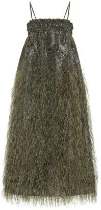 Ganni Faux feather-trimmed midi dress