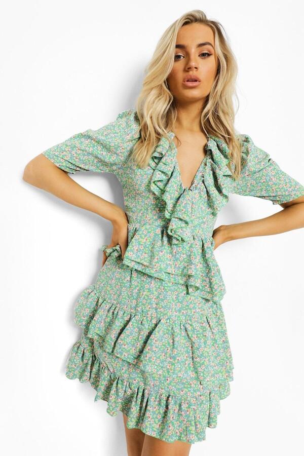 boohoo Floral Ruffle Lace Up Back Mini Dress