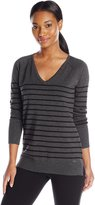 Calvin Klein Women's V-Neck Striped Pullover