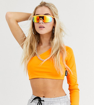 Crooked Tongues one sleeve tight crop top in neon