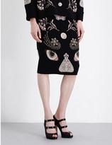 Alexander McQueen Butterfly-motif stretch-knit skirt