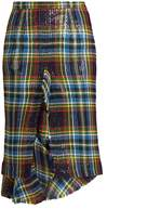 Marco De Vincenzo Ruffled tartan skirt