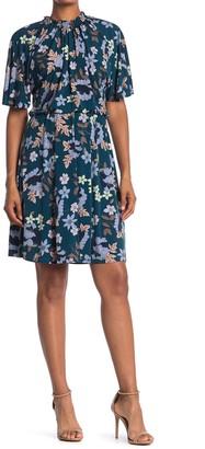 Maggy London Flutter Sleeve Printed Jersey Dress