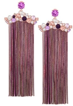 ZAXIE by Stefanie Taylor Zaxie Gilded Desire Cluster Stone Fringe Earrings