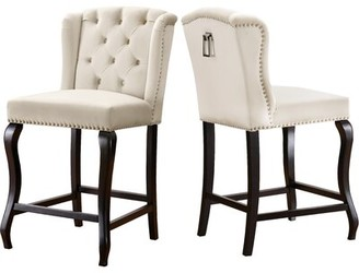 "Rosdorf Park Lawrence Hill 27.5"" Bar Stool Upholstery Color: Cream"
