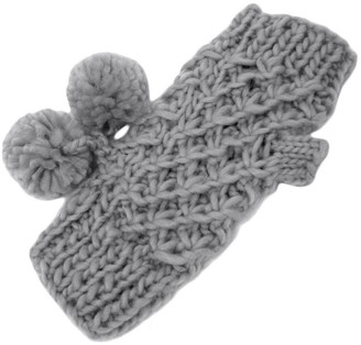 Rjm Accessories Ladies' Grey Loose Knitted Fingerless Mitten Gloves With 2 Pom Pom Bobbles