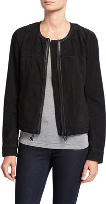 Neiman Marcus Leather Collection Collarless Zip-Front Suede Jacket
