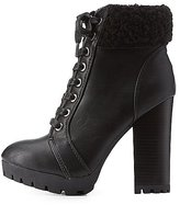 Charlotte Russe Bamboo Faux Shearling Lace-Up Booties