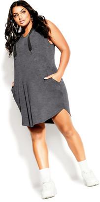 City Chic V Hoodie Dress - platinum