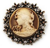 Avalaya Vintage Round Crystal Cameo Brooch & Pendant In Antique Gold Metal