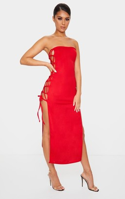 ASA Trad Red Bandeau Lace Up Detail Split Midi Dress