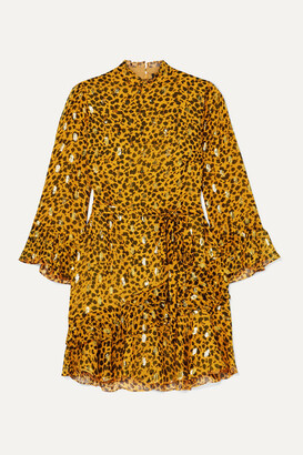 Saloni + Venyx Marisa Leopard-print Fil Coupe Silk-blend Chiffon Mini Dress - Gold