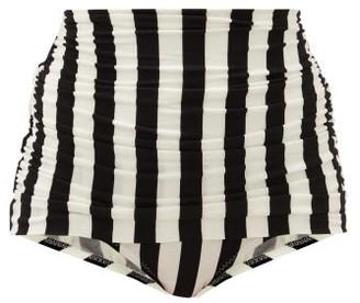 Norma Kamali Bill Striped High-rise Bikini Briefs - Black Stripe