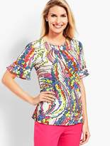 Talbots Ruffle-Sleeve Top - Swirling Floral