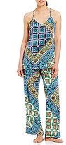 Josie Summer Festival Tile-Print Challis Pajamas