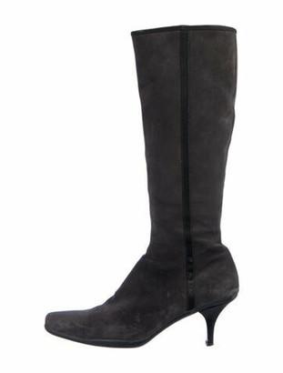 Prada Suede Grosgrain Trim Boots Grey