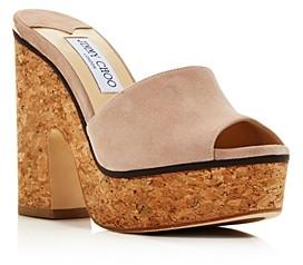 Jimmy Choo Women's Deedee 125 High Block-Heel Platform Slide Sandals