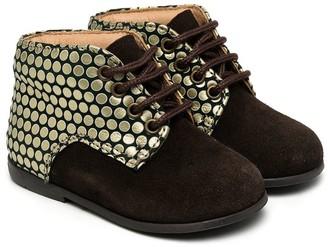 Pépé Metallic Print Lace-Up Boots