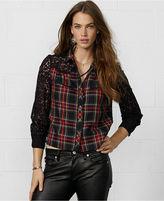Denim & Supply Ralph Lauren Plaid Lace-Sleeve Shirt