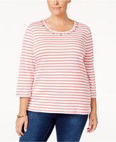 Karen Scott Plus Size Striped Grommet Top, Only at Macy's