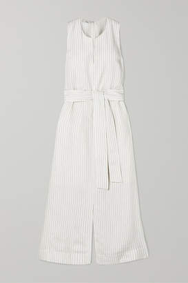 Vince Belted Pinstriped Crepe Midi Dress - White