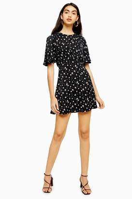 Topshop Womens Austin Black Floral Print Mini Dress - Black