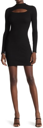 Planet Gold Mock Neck Cutout Long Sleeve Ribbed Bodycon Dress