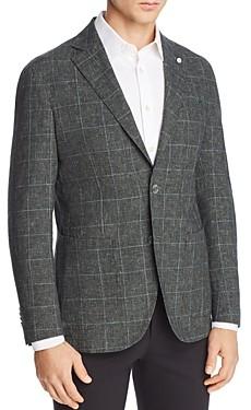 L.b.m Washed Cotton & Linen Plaid Slim Fit Sport Coat