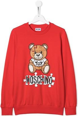 MOSCHINO BAMBINO TEEN teddy bear puzzle sweatshirt