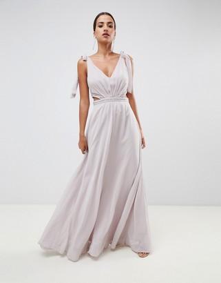 Asos Design DESIGN tie shoulder cut out side with embellished trim maxi dress-Beige