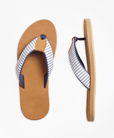 Brooks Brothers Stripe Seersucker Flip Flops