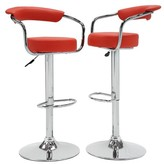 Homelegance Jonisk Adjustable Height Barstool Metal/Red (Set of 2) - Inspire Q