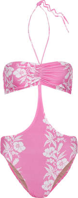 Adriana Degreas Cutout Ruched Floral-print Halterneck Swimsuit